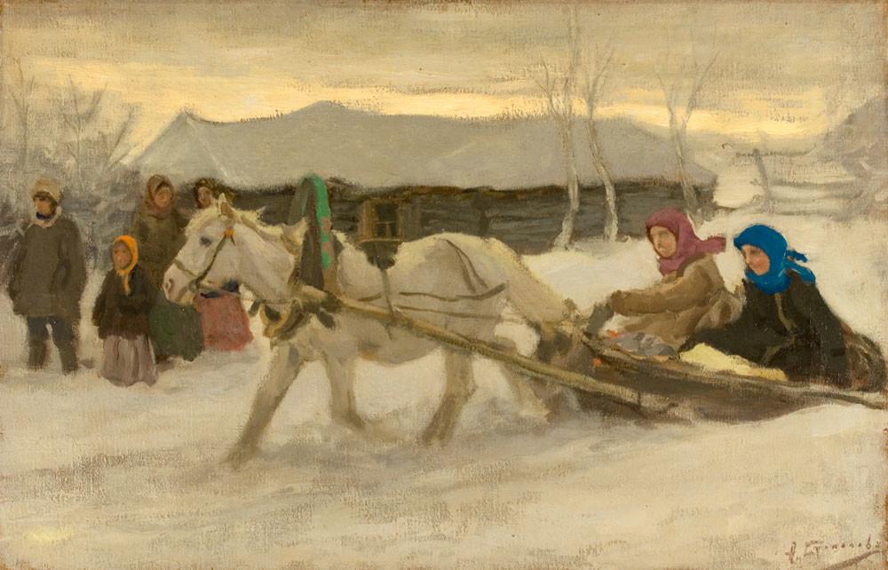 Winter in Village - Aleksei Stepanovich Stepanov russian realism painting
