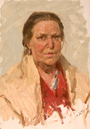 russian realism painting Portrait of Mother - Gennady Korolev