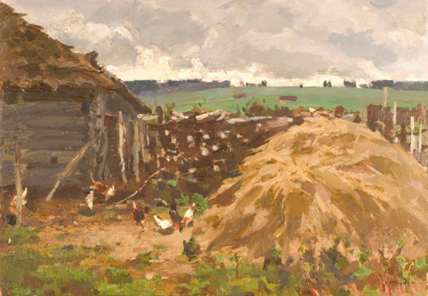 20th century russian painting Hay Stacks - Gennady Korolev