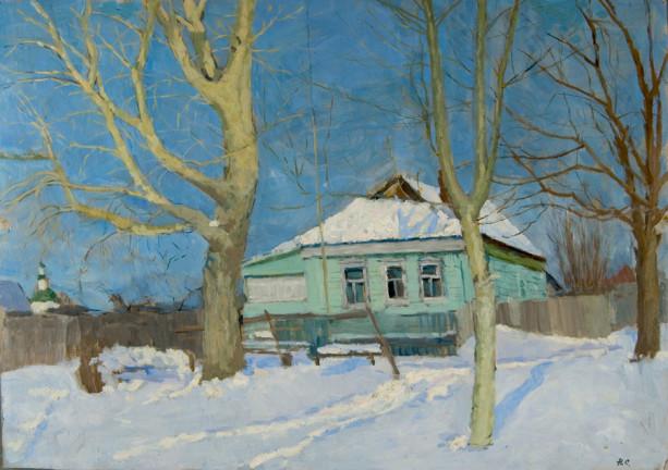 Old Poplar Trees - Nikoli Sergeyev Sergeevich Russian painting for sale