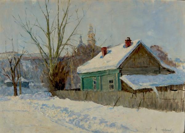 Snow in the Village - Nikoli Sergeevich Sergeyev art gallery richmond virginia