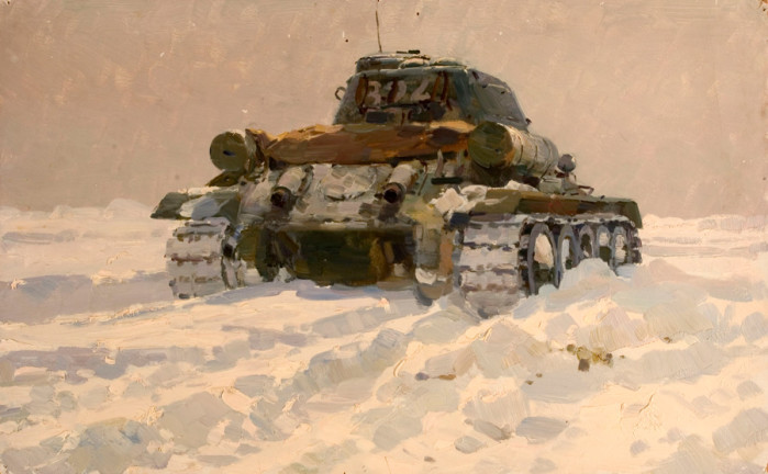 Tank in Motion - Poiter Maltsev russian realism painting